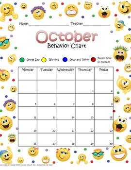Smiley October Behavior Chart