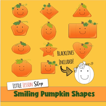 Smiling Pumpkin Shapes Clipart with Black and White Versions too!