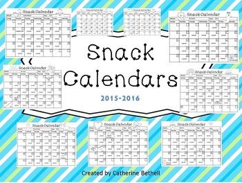 Snack Calendars 2015-2016