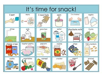 Snack Time Choice Board for Picture Exchange