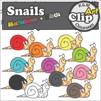 Snails Rainbow Clip Art