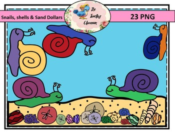 Snails, Shells, Sand Dollars Clip Art (Commercial Use)