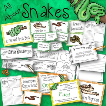 All About Snakes Activities, Posters, Books, and Fact and