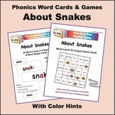 Snakes Phonics Word Cards and Games, with Color Hints on Vowels