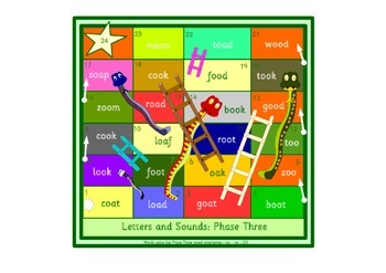 Snakes and Ladders phonics games. Phase 3 of the Letters a