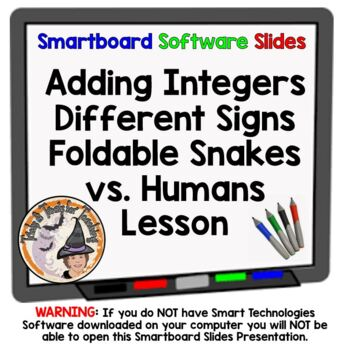 Snakes vs. Humans Adding Integers Different Signs Smartboa