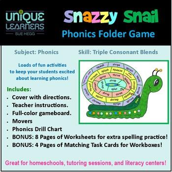 Snazzy Snail Folder Game Phonics Triple Consonant Blends