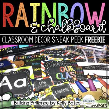 {FREEBIE} Rainbow and Chalkboard Classroom Decor Set SAMPLER