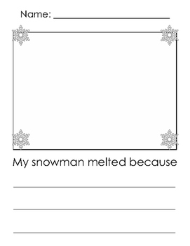 Sneezy the Snowman Writing Prompt
