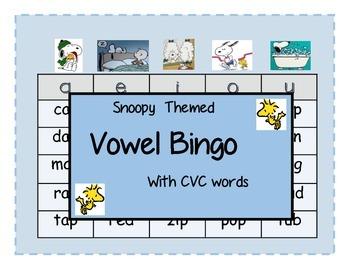 Snoopy Themed Vowel Bingo with CVC Words