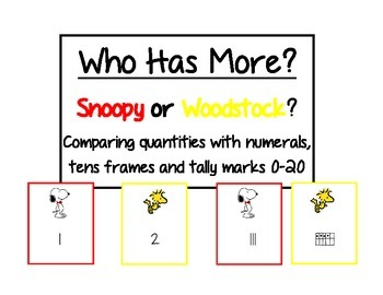 Snoopy's Who Has More?   Compare quantities 0-20 w/numbers