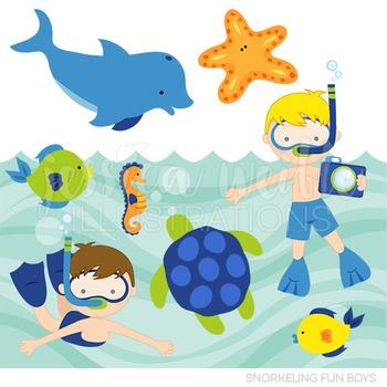 Snorkeling Fun Boys Cute Digital Clipart, Summer Swimming