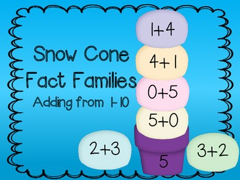 Snow Cone Fact Families - Adding numbers to 10