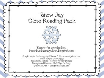 Snow Day - Close Reading Pack