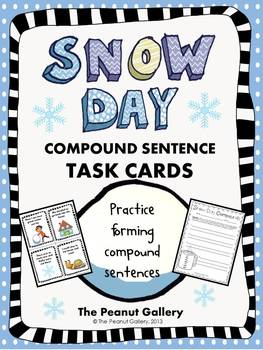 Snow Day Compound Sentence Task Cards