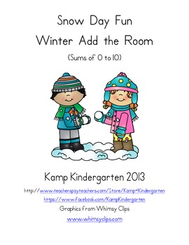 Snow Day Fun Winter Add the Room (Sums of 0 to 10)