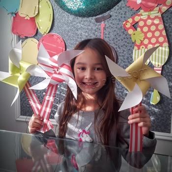 Snow Day, Indoor Recess Circus Theme paper pinwheels craft