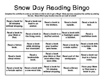 Snow Day Reading Bingo