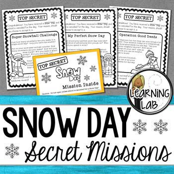 Snow Day - Secret Mission Challenge #resourcesthatgive