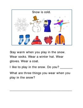 Snow Following Directions Comprehension Emergent Reader Pr