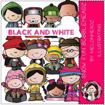 Snow Fun Bobbleheadz by Melonheadz BLACK AND WHITE