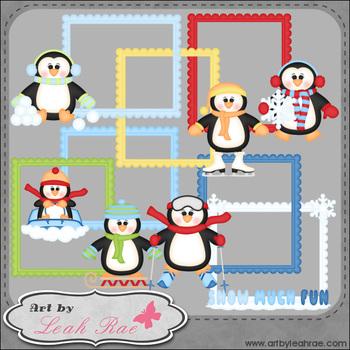Snow Much Fun Penguin Frames 1 Art by Leah Rae Clip Art &