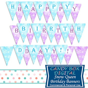 Snow Queen Full-Size Printable Birthday Party Banner - for