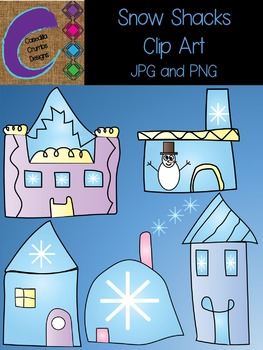 Snow Shacks Clip Art Set Color Images