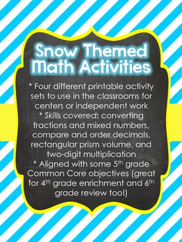 Snow Theme Math Center Activities for Upper Elementary (4