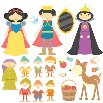 Snow White - Clipart & Vector Set - Instant Download