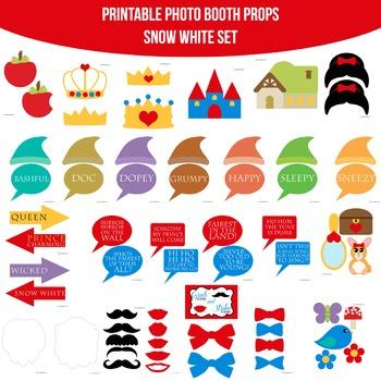 Snow White Printable Photo Booth Prop Set