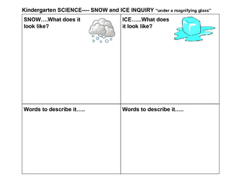 Snow and Ice Inquiry Worksheet