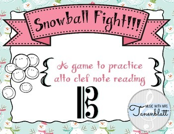 Snowball Fight!!!  Alto Clef Note Reading Game