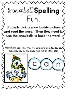 Snowball Spelling with Snow Buddies!