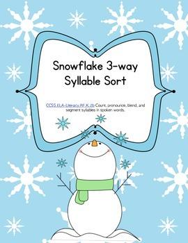 Snowflake 3 Way Syllable  Sort - Word Work or Literacy Cen