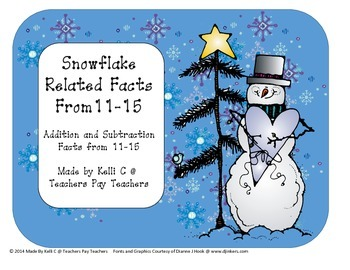 Snowflake Addition and Subtraction Related Facts Pages for