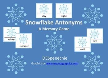 Snowflake Antonym Memory Match - FREEBIE