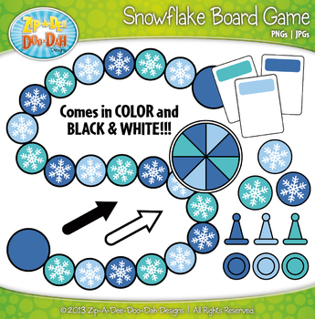 Snowflake Build A Board Game Clip Art Set — Over 20 Colorf