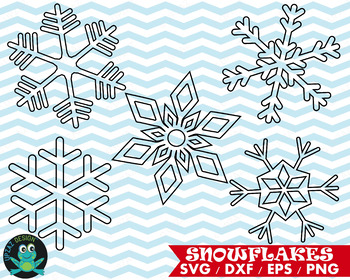 Snowflake Cutting Files, SVG, DXF, PNG, EPS, JPG