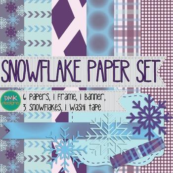 Digital Paper and Frame Set- Snowflake
