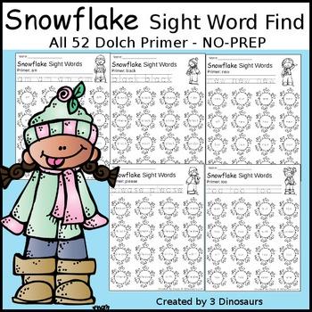 Snowflake Sight Word Find: Primer