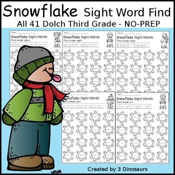 Snowflake Sight Word Find: Third Grade