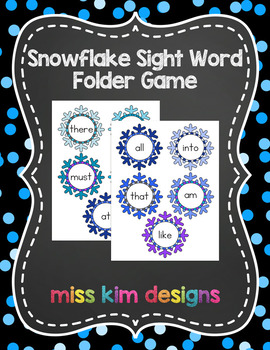 Snowflake Sight Word Reading Folder Game for students with Autism