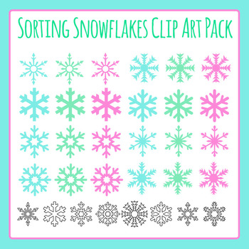 Snowflake Winter Theme Shapes for Sorting Clip Art for Com