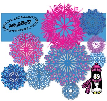 Snowflake and Penguin Clipart Set