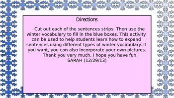 Snowflake expanding sentences