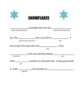 Snowflake mad lib writing