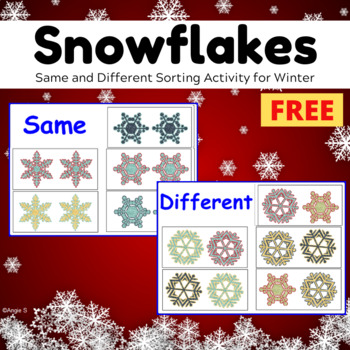FREE Snowflakes Same or Different Activity for Autism