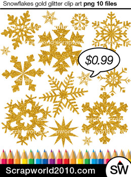 Snowflakes gold glitter clipart SALE