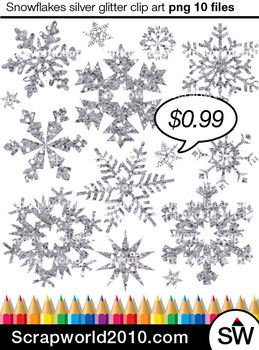 Snowflakes silver clipart SALE